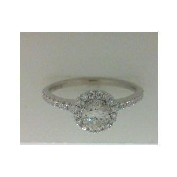 Lady's White 18 Karat Halo Engagement Ring