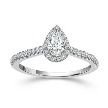 Lady's White 14 Karat Pear Halo Engagement Ring
