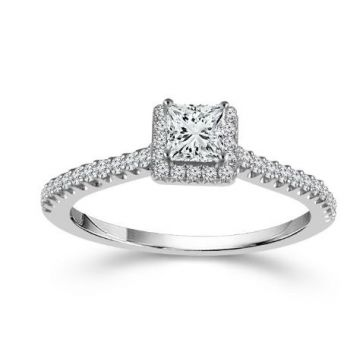 Lady's White 14 Karat Princess Halo Engagement Ring