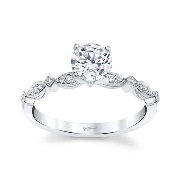 Coast Diamond 14k White Gold Diamond Scalloped Engagement Ring