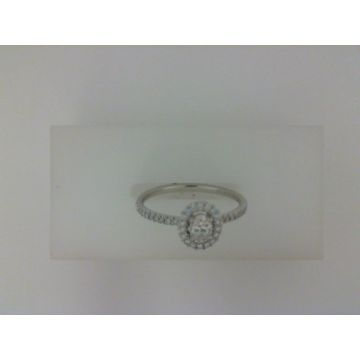 Lady's Ring With One Oval Diamond And Round Diamonds