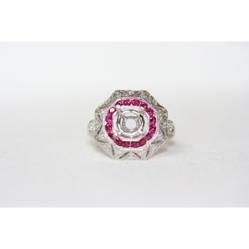 Lydia Octagon Shaped Ruby Halo Ring Mounting