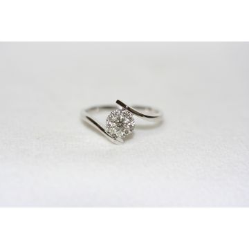 Lady's White 18K Bypass Ring
