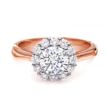Coast Diamond 14k Two-Tone Gold Halo Diamond Engagement Ring