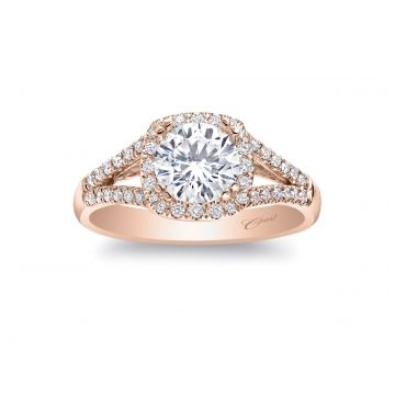 Coast Diamond 14k Rose Gold Halo Split Shank Diamond Engagement Ring