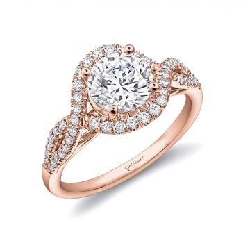 Coast Diamond 14k Rose Gold Twist Halo Diamond Engagement Ring
