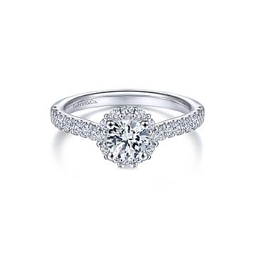 Lady's White 14 Karat Halo Ring