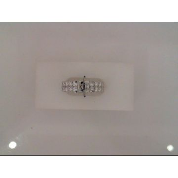 Lady's White 14 Karat Thick 2 Row Semi-Mount Ring