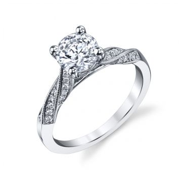 Coast Diamond 14k White Gold Diamond Contemporary Twist Engagement Ring