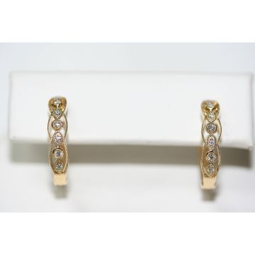 Lady's Yellow 18K Milgrain Vintage Hoops Earrings
