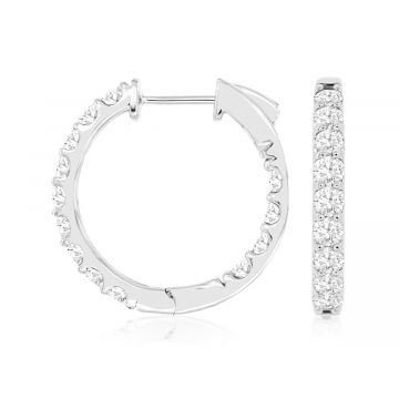 Lady's White Polished 14 Karat Inside Out Hoop Earrings