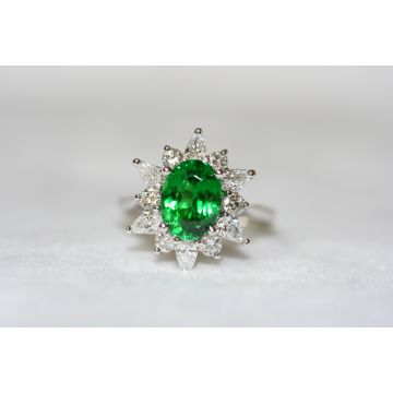 Fantastic Ladies Handmade Cluster Halo Tsavorite Garnet and Diamond Ring