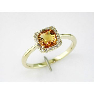 Lady's Yellow Polished 14 Karat Cushion Halo Fashion Ring