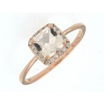 Lady's Rosé Polished 14 Karat Cushion Halo Fashion Ring