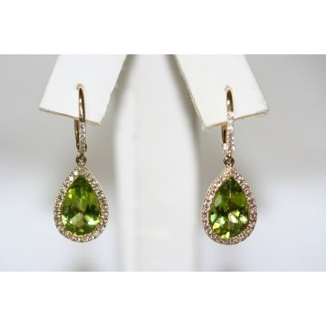 Pear Halo Peridot Earrings