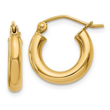 Lady's Yellow Polished 14 Karat 3Mm Small Tube Hoop Earrings