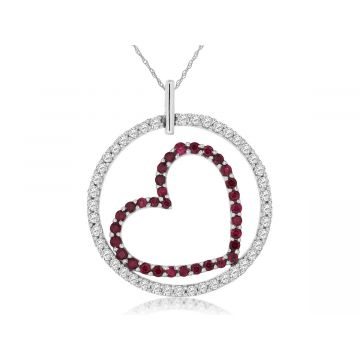 Lady's White Polished 14 Karat Circle Heart Necklace