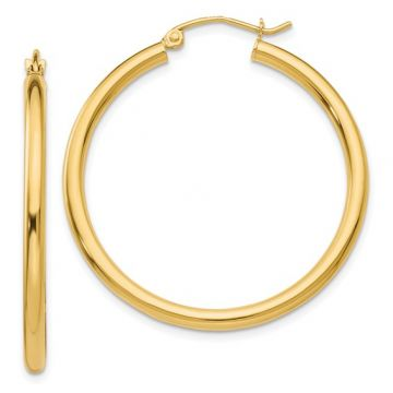Lady's Yellow Polished 14 Karat 2.5Mm Lightweight Tube Hoop Earrings (35mm dia)