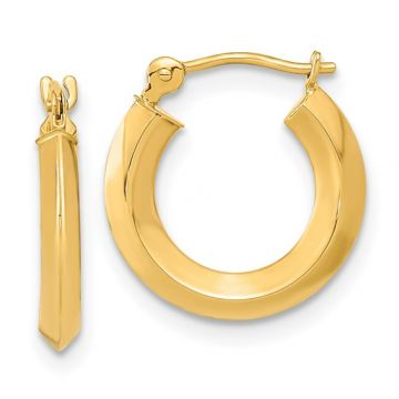 Lady's Yellow Polished 14 Karat Knife Edge Small Hoop Earrings