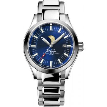 BALL Watch Engineer II Luminous Moon Phase Automatic Timepiece , Amortiser Anti-Shock, 41mm Case, WR 100Meter, Date, Stainless Steel Bracelet, Blue Dial