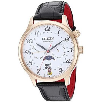 Citizen Men's Disney Collection Mickey Mouse Watch Stainless Steel with Black/Red Leather Strap WR50