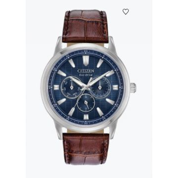 Citizen White St Chronograph Watch With Brown Leather Strap