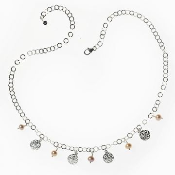 Southern Gates Lady's White Sterling Silver Handwrought Pink Pearl And Charm Necklace Length 20