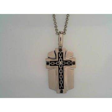 White Matte' Sterling Silver Center Cross Dog Tag Silver Necklace with Black Diamonds