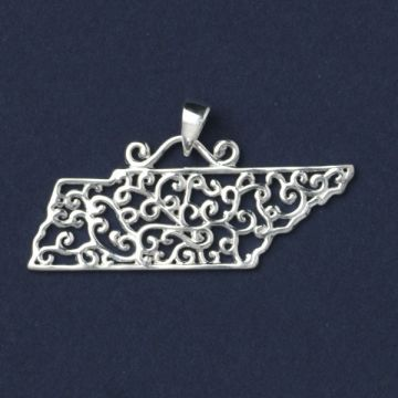 Southern Gates Sterling Silver Tennessee Scroll Pendant