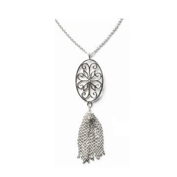 Southern Gates Sterling Silver Country Oval Scroll Tassel Pendant