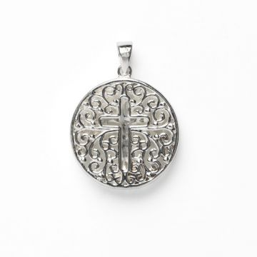 White Sterling Silver Double Sided Round Tree and Cross Pendant