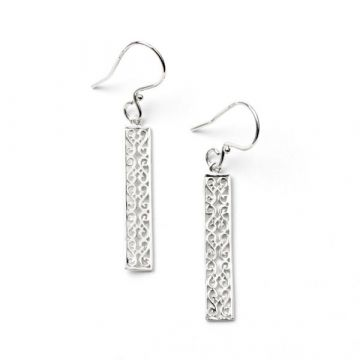 Lady's Rhodium Plated Sterling Silver Filigree Balcony Series Drop Earrings