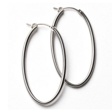 Southern Gates Lady's White Polished Sterling Silver 50 Mm. Oval Hoop Earrings