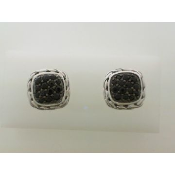 WOMEN's Classic Chain Silver Lava Small Square Earrings with Black Sapphire