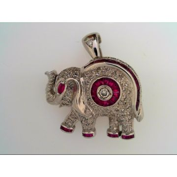 White Polished 14 Karat Fancy Elephant Pin/Pendant Estate Jewelry With Round Diamonds And Various Shapes Rubys