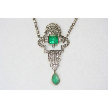 Estate Emerald and Diamond Necklace platinum and 18KY Art-deco pendant with diamond segmented chain