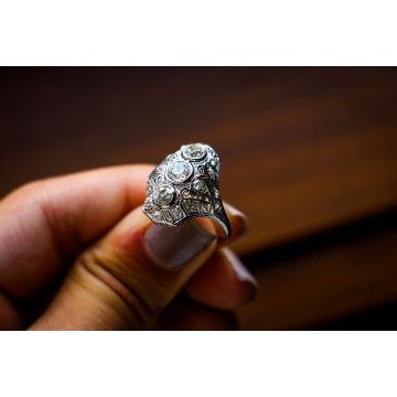 Estate Platinum Pierced Dome 3 Stone Ring