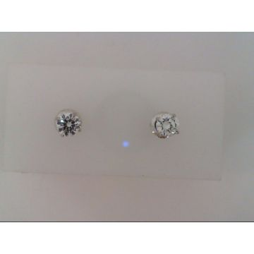 White Platinum Threaded 4 Prong Diamond Stud Earrings On Consignment
