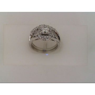 Estate Ladies Diamond Halo Engagement and Curved Band Set