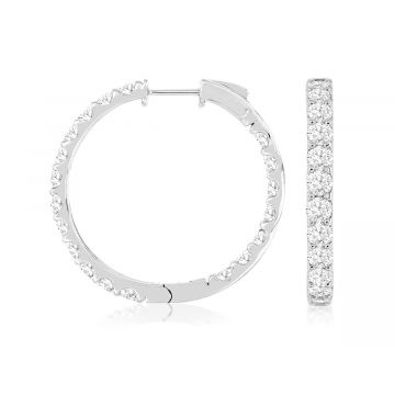 Lady's White 14 Karat Inside/Out Hoop Earrings