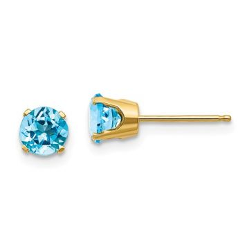 Lady's Yellow 14 Karat Stud Earrings with Round Blue Topazs