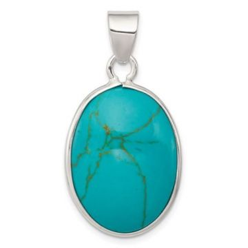 Sterling Silver Bezel Set Oval Pendant With One Oval Turquoise