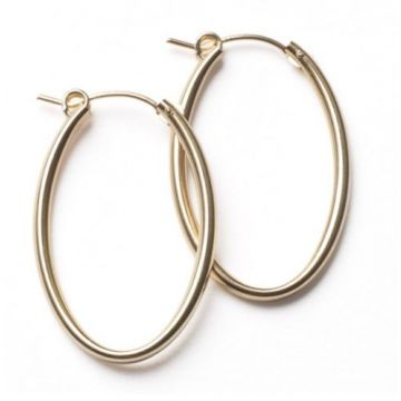 Southern Gates Lady's Yellow Polished Sterling Silver 30 Mm. Oval Hoop Earrings