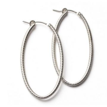 Southern Gates Lady's White Textured Sterling Silver 50 Mm. Oval Hoop Earrings