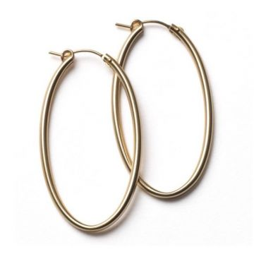 Southern Gates Lady's Yellow Polished Sterling Silver 50 Mm. Gold Fill Oval Hoop Earrings