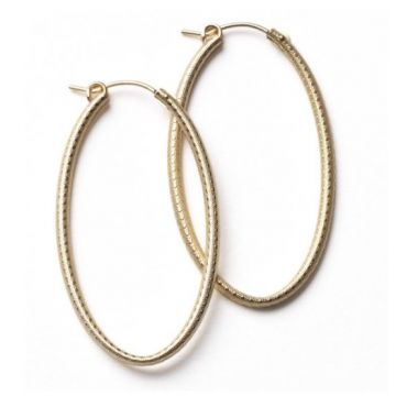 Southern Gates Lady's Yellow Textured Sterling Silver 50 Mm. Gold Fill Oval Hoop Earrings