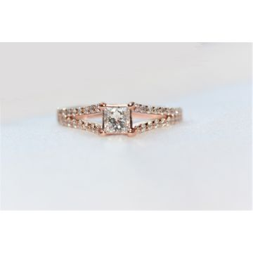 Lady's Rosé 14 Karat Split Shank Engagement Ring