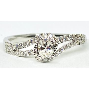 Nelson Lady's White 18 Karat Bypass Engagement Ring