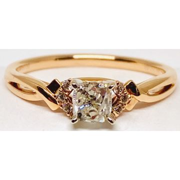 Lady's White/Rose' 18 Karat Twist Engagement Ring