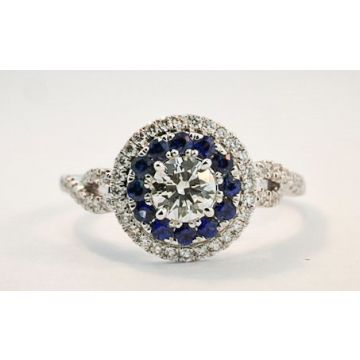 Nelson Lady's White 18 Karat Twist Shank Sapphire Accented Halo Engagement Ring